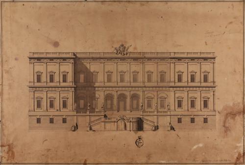 Alzado de la fachada principal de un palacio