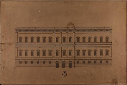 Alzado de la fachada de un palacio