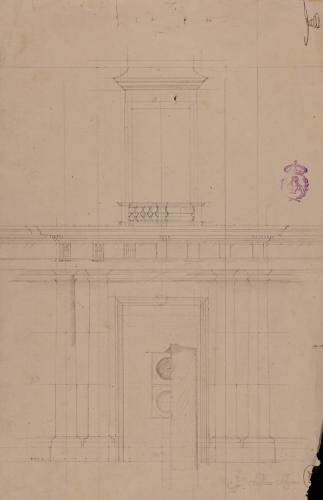 Una portada de un palacio, con columnas dóricas y balcón encima