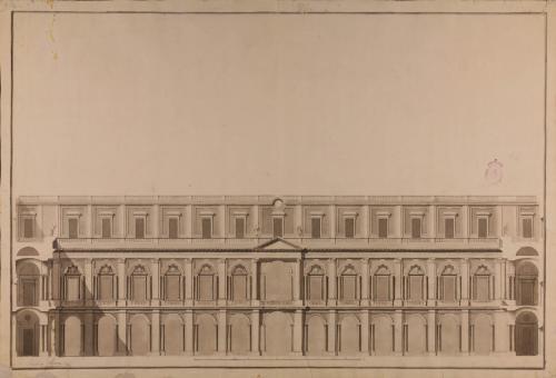 Sección de un patio de un palacio adornado de los tres órdenes, dórico, jónico y corintio, con pórticos