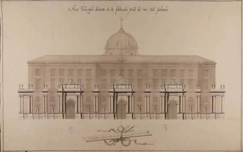 Alzado de la fachada de un arco de triunfo delante de la fachada principal de un real palacio