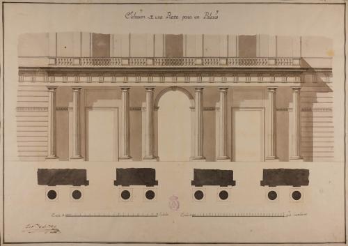 Planta y alzado de una portada para un palacio