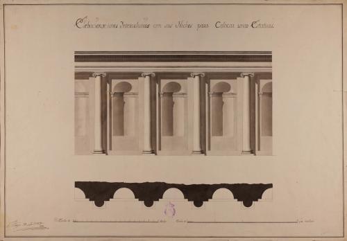 Planta y alzado de intercolumnios con sus nichos para colocar estatuas