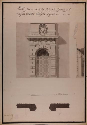 Planta, alzado y sección de la puerta principal de entrada al palacio de Caprarola, que Vignola demuestra dibujada en grande