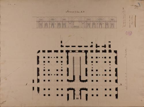 Planta y sección AB de un atrio magnífico para el ingreso de un palacio real
