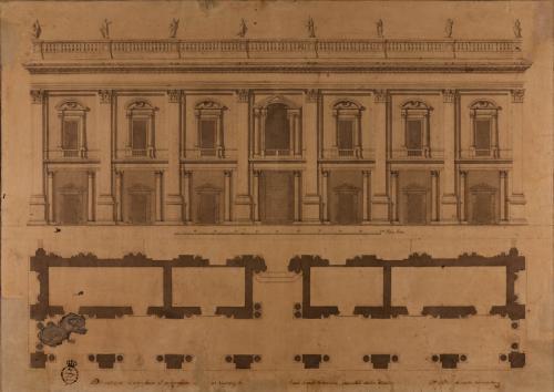 Planta y alzado de la fachada principal del capitolio romano