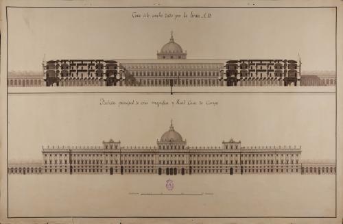 Alzado de la fachada principal y sección AB de una real casa de campo