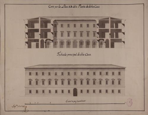 Alzado de la fachada principal y sección AB de una casa de campo para un particular