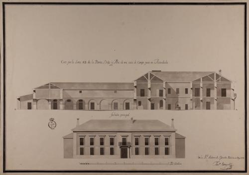 Alzado de la fachada principal y sección AB de una casa de campo para un hacendado