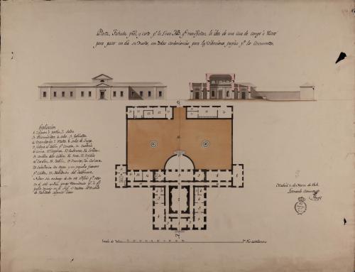 Planta, alzado de la fachada principal y sección AB de una casa de campo o recreo para pasar en ella un día su dueño