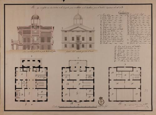 Plantas baja, principal, alzado de la fachada principal y sección AB de una casa de recreo en la campaña para un letrado