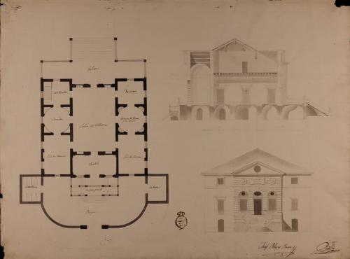 Planta, alzado de la fachada principal y sección longitudinal de una casa de campo o recreo para una persona con título