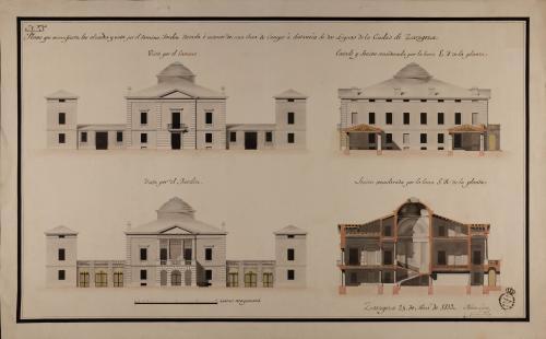 Alzado de las fachadas principal, posterior y secciones EF y GH de una casa de campo a dos leguas de Zaragoza