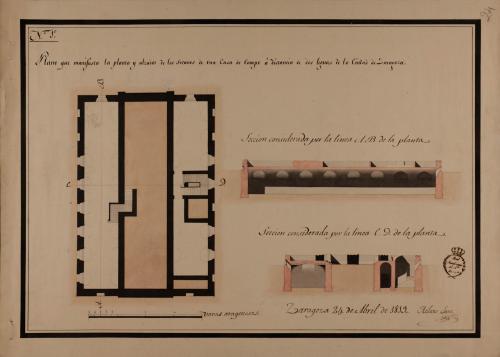 Planta de sótanos y las secciones AB y CD ed una casa de campo a dos leguas de Zaragoza