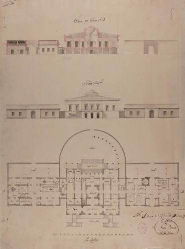 Planta, alzado de la fachada principal y sección AB Casa de campo o recreo para un matrimonio de comodidades