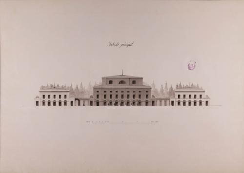 Alzado de la fachada principal de una  casa de campo para el recreo de un soberano
