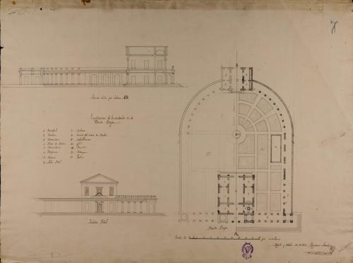 Plantas general y baja, alzado de las fachada principal y sección AB de una casa de campo para un señor de título, con jardines y estanques