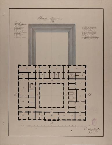 Planta principal de una casa de campo destinada a un marqués, para recreo y recolección de frutos