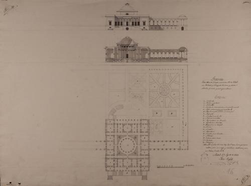 Planta, alzado de la fachada principal y sección de una casa de campo para un señor de título, con jardines y estanques