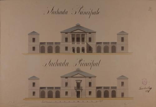 Alzado de la fachada principal y la que da al jardín de una casa de campo y labor para un caballero hacendado, a una legua de la villa de Muchamiel
