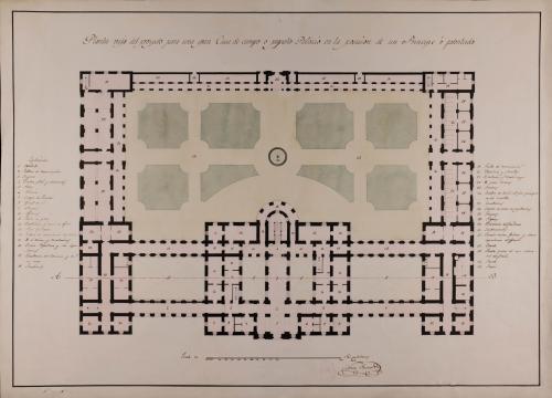 Planta baja de una gran casa de campo o pequeño palacio en la posesión de un príncipe o potentado