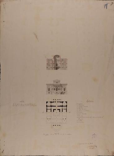 Planta principal, alzado de la fachada principal y sección AB de una casa de campo en un paralelogramo proporcionado, para un personaje de primera clase