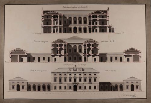 Alzado de la fachada principal que da al campo y las secciones AB y CD de una casa de campo o recreo para un título
