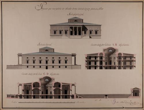 Alzado de las fachadas principal y lateral, y las secciones AB y CD de una casa de campo para un señor