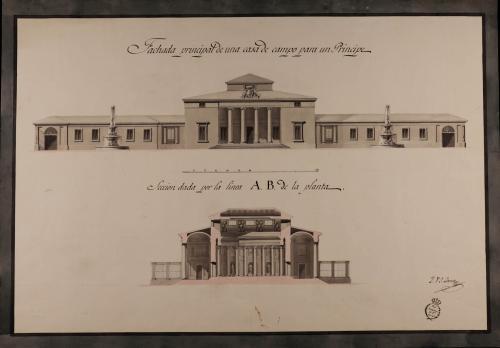 Alzado de las fachadas principal y sección AB de una casa de campo para un príncipe
