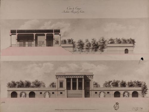 Alzado de la fachada principal y sección de una casa de campo