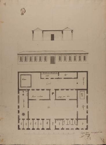 Planta, alzado de la fachada principal y sección de una casa de labor