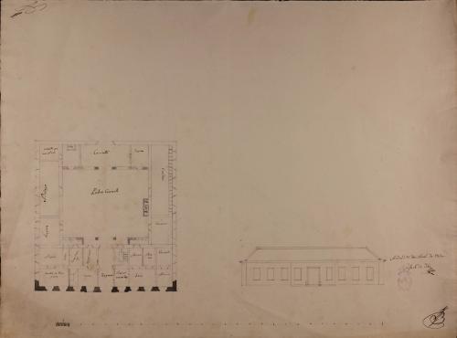Planta y alzado de la fachada principal de una casa de campo y labor