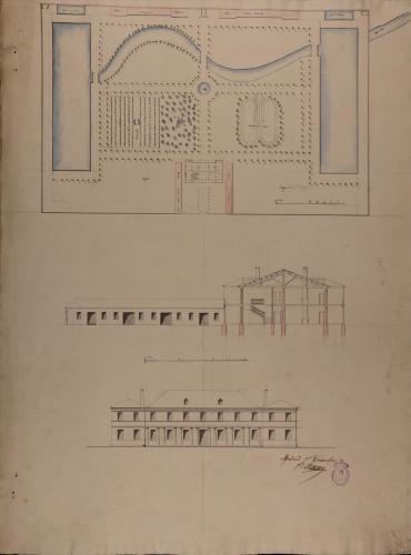 Planta general, alzado de la fachada principal y sección de una casa de campo para un señor de título, con jardines y estanques de recreo y pesca
