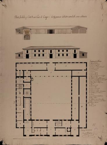 Planta baja, alzado de la fachada principal y sección AB de una casa de campo para recreo y labor