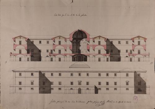 Alzado de la fachada principal y sección AB de una casa de labranza