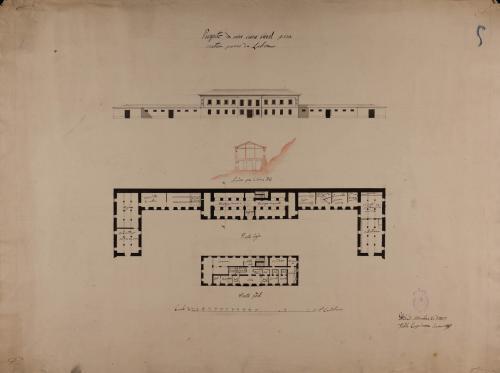 Plantas baja y principal, alzado de la fachada principal y sección AB de una casa rural para cuatro pares de labor