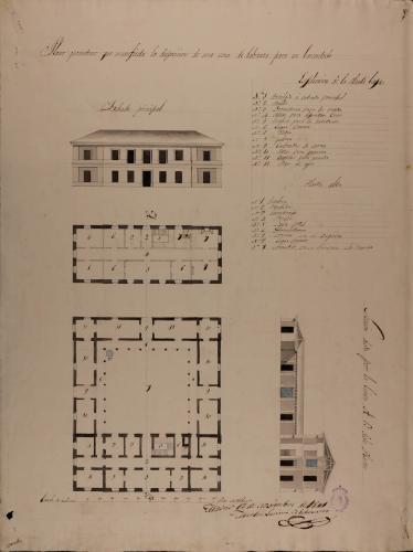Plantas baja y principal, alzado de la fachada principal y sección AB de una casa de labranza para un hacendado