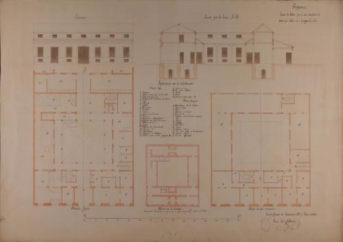Plantas baja y principal de la bodega, alzado de la fachada principal y sección AB de una casa de labor para un cosechero de vino que labra cien fanegas de viña