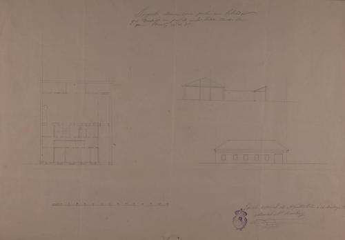 Planta, alzado de la fachada principal y sección longitudinal de una casa de labor para un labrador que tiene un par de mulas y labra tierras de pan, viñas y olivares