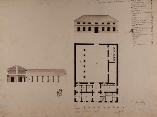 Planta baja, alzado de la fachada principal y sección de un casa cortijo para labranza