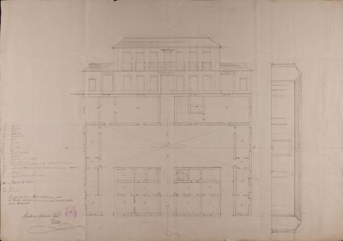 Planta, alzado de la fachada principal y sección AB de una casa de labor para un cosechero de vino, que labra con fanegas de viña