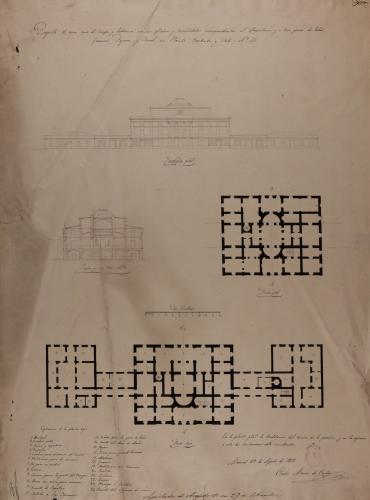 Plantas baja y principal, alzado de las fachada principal y sección AB de una casa de campo y labranza para tres pares de labor