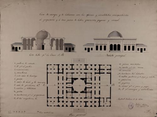 Planta general, alzado de las fachada principal y sección AB de una casa de campo y labranza para tres pares de labor