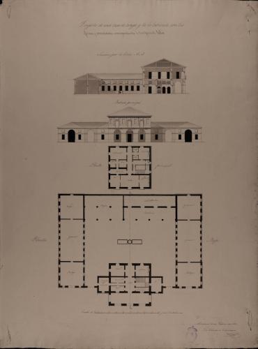 Plantas baja y principal, alzado de la fachada principal y sección AB de una casa de campo y labranza correspondiente a tres pares de labor