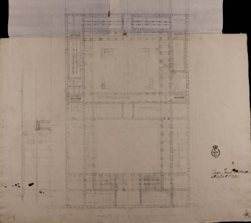 Planta y alzado de la fachada de una casa con destino a mesón de carruajes y arriería, con capacidad para ciento cincuenta pesebres