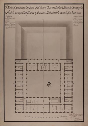 Planta principal de un casa con destino a mesón de carruajes y arriería, con capacidad para ciento cincuenta pesebres