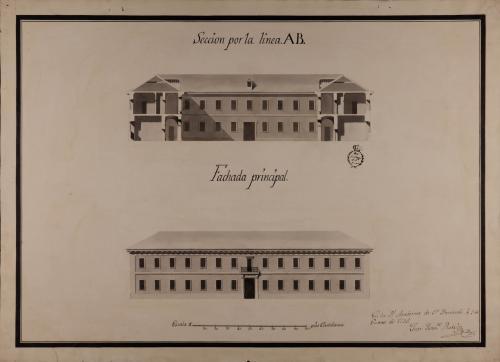 Alzado de la fachada principal y sección AB de una casa con destino a mesón de carruajes y arriería, con capacidad para ciento cincuenta pesebres