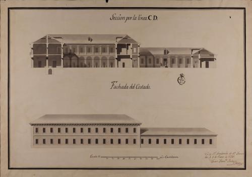 Alzado de la fachada lateral y sección CD de una casa con destino a mesón de carruajes y arriería, con capacidad para ciento cincuenta pesebres