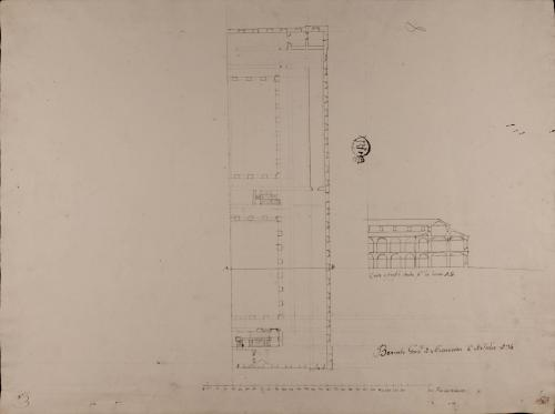 Mitad de la planta y de la sección AB de una casa mesón de carruajes y arriería, con capacidad para ciento cincuenta pesebres