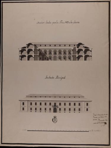 Alzado de la fachada principal y sección AB de una casa mesón de carruajes y arriería, con capacidad para ciento cincuenta pesebres